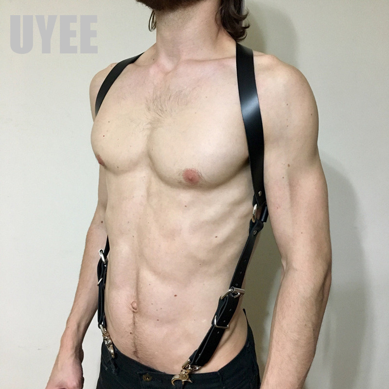 2018 New Leather Harness Body Bondage Mens Shoulder Strap Punk Goth Sexy Waist Belt High Quality LM-020