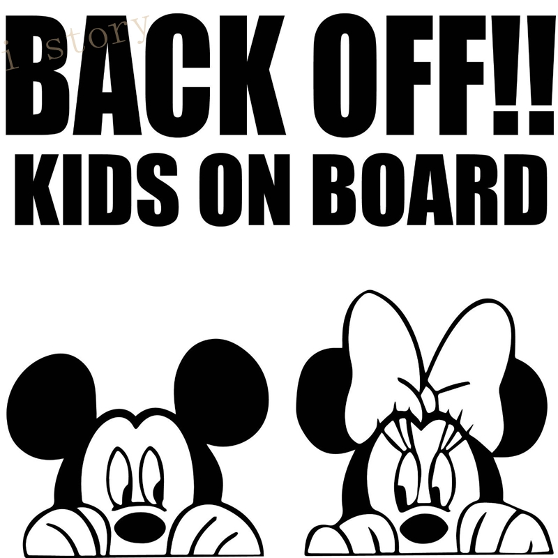 back off kids on board cartoon car sticker mouse car window bumper wall decal sticker graphic