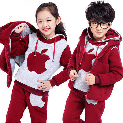 2015 new winter suit children suit girls and boys plus thick velvet three-piece
