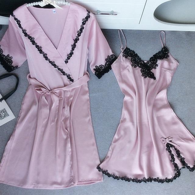 2017 Women Imitation Silk Bathrobe Camisole And Gown Sets Black Lace Garland Sexy Nightdress Sleepwear Summer Homewear Pink XXL