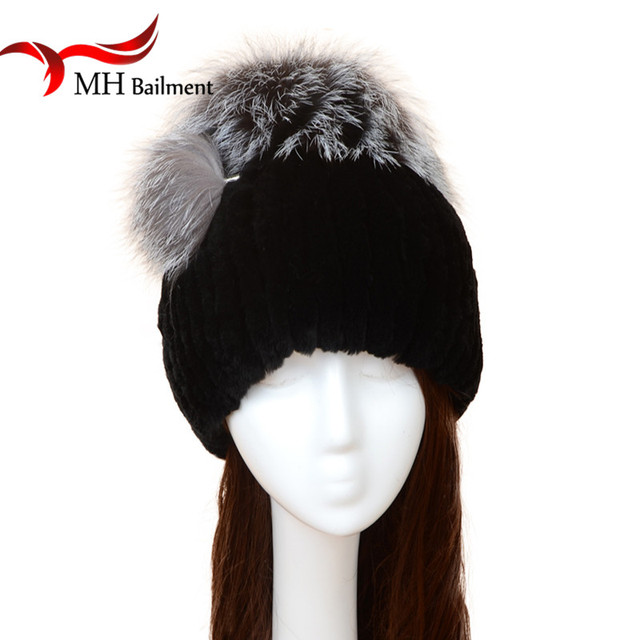 Rex Rabbit Knitted Fur Hat Autumn Winter Fashion Warm Rabbit Fur Hat with Fox Fur Pompoms Casual Rex fur hat Casual Beanies H#26