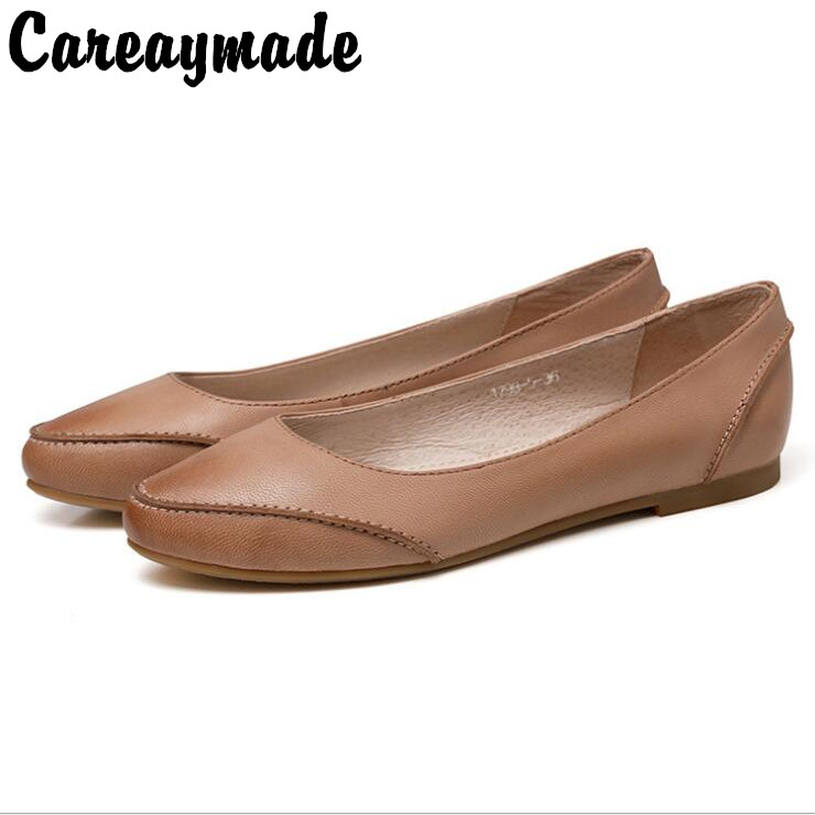 Careaymade The new spring shoes Top layer Genuine leather shoes retro handmade pointed shoes casual shoes
