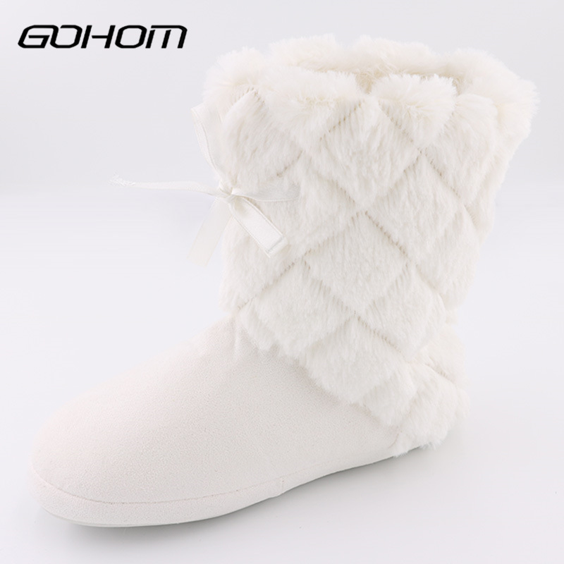 GOHOM Classic White Home Boots Warm Soft Plush Shoe Tube Design Luxury Ankle Boots Sapato Feminino Pantufa Winter Warm Footwear