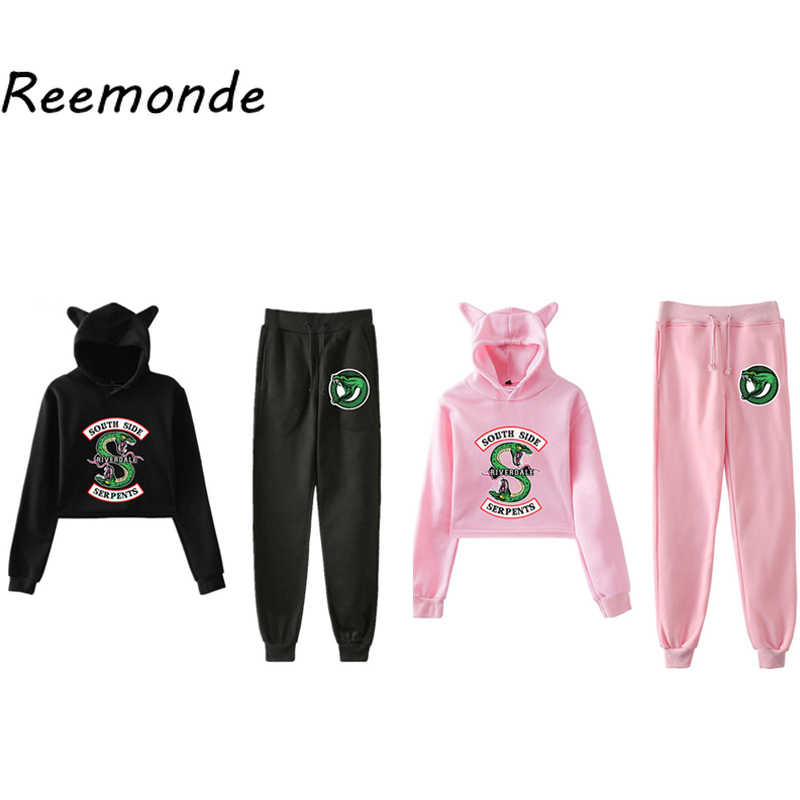 South Side Serpents Riverdale Hoodie Sweatshirts Pants Women Girls Female Harajuku Riverdale SouthSide Pullover Hooded Top Sets