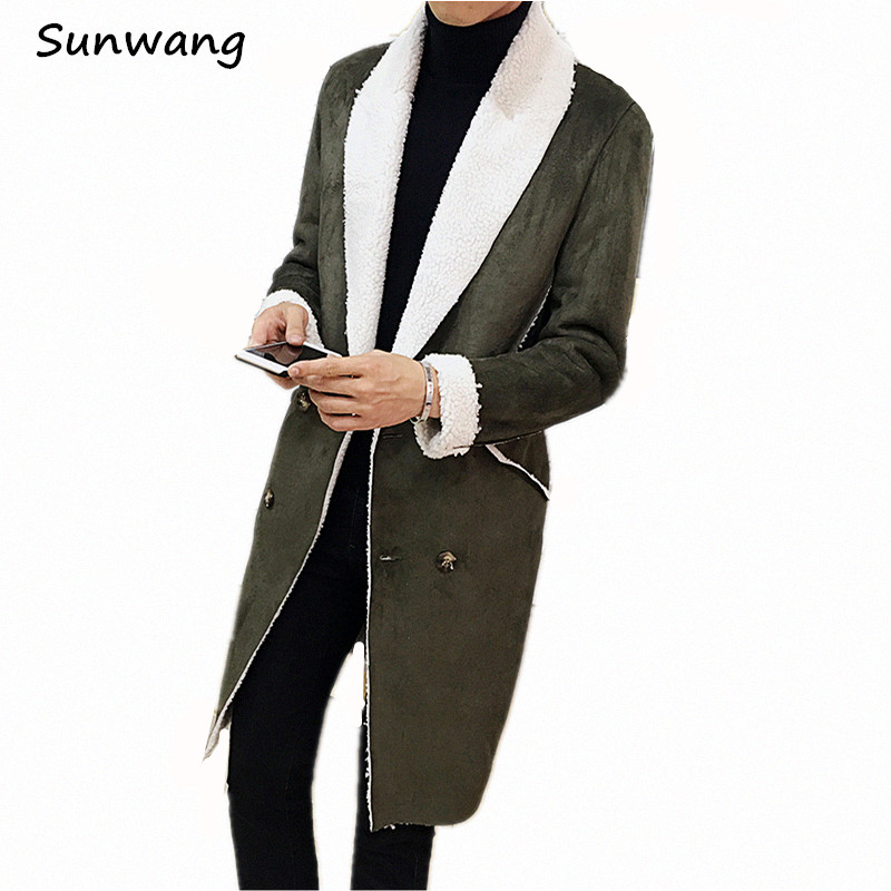 Double Breastead Winter Casual Thick Warm Trench Coats Men Fur Collar Suede Leather Mens Faux Fur Coat Motorcycle Long Overcoat