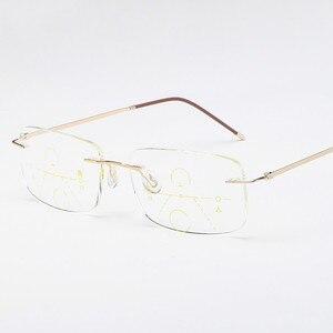 Image 5 - Óculos de leitura multifocal unissex, óculos de titânio para leitura, com lente multifocal, sem aro, para homens e mulheres, 2019