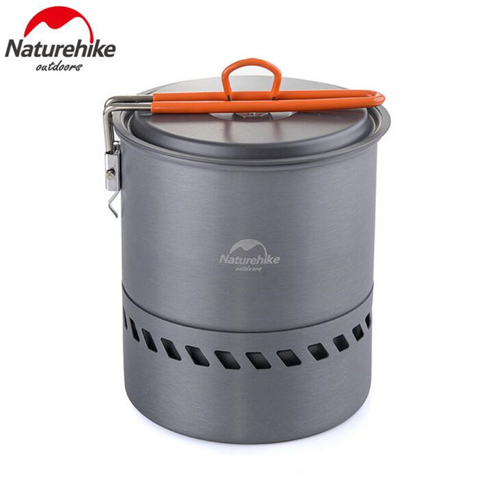 Naturehike Outdoor Camping Cookware Anodised Aluminum Non stick Pots Bowls Energy saving Folding Handle Picnic Tableware in Outdoor Tablewares from Sports Entertainment