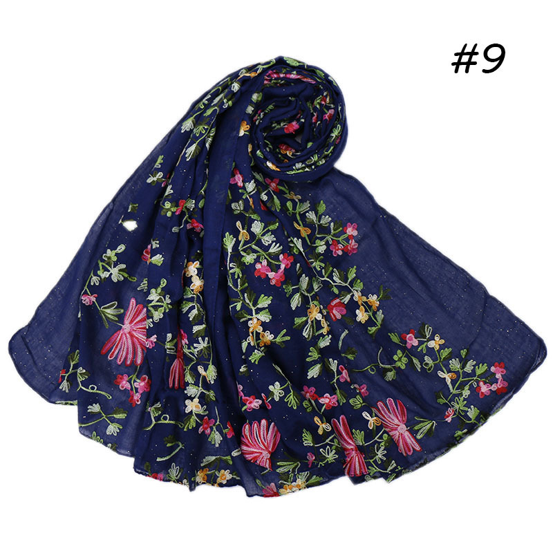 Women Plain Embroider Floral Glitter Cotton Shawl Scarf From Indian High Quality Thick Hijabs And Wraps Pashmina Muslim Snood