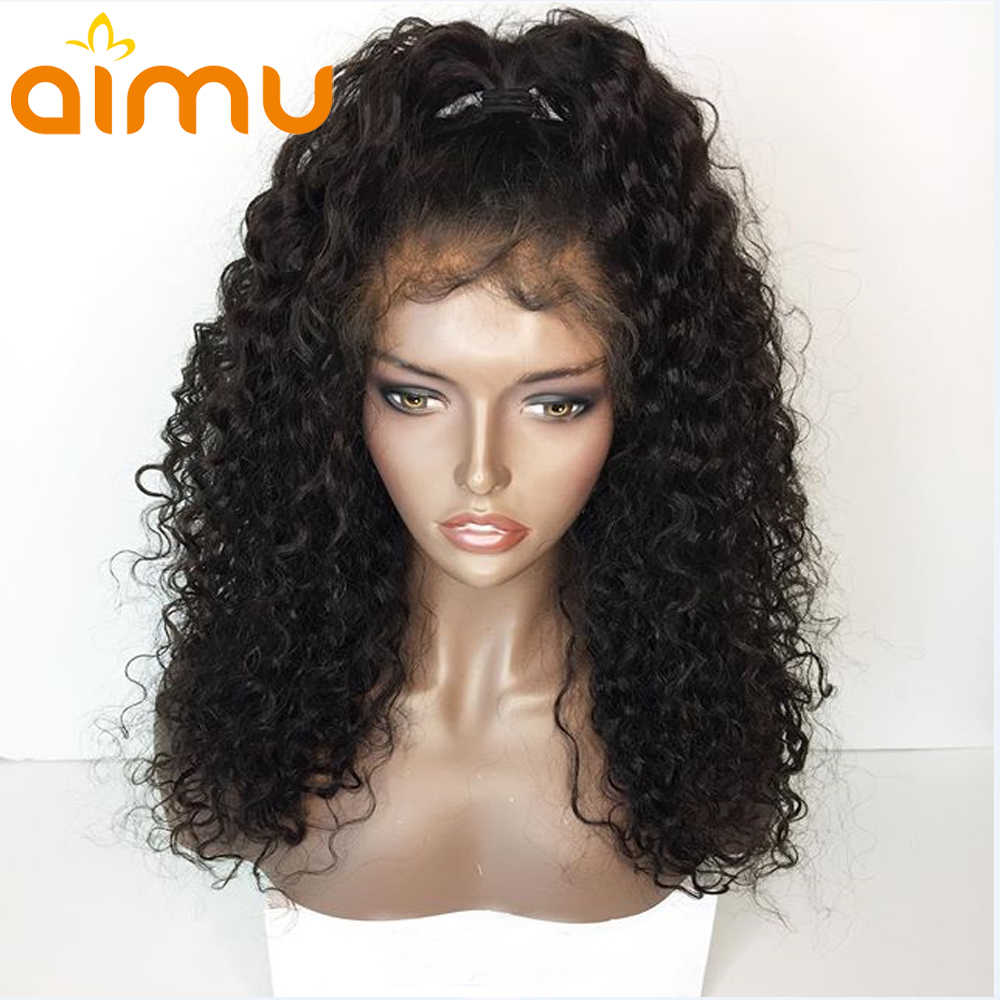 Aimu Pre Plucked 360 Lace Frontal Wig With Baby Hair 250 Density Curly Brazilian Virgin Human Hair Wigs For Black Women