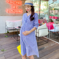Fashion V neck Blue White Striped Dress for Pregnant Women Cotton A Line Elastic Sleeved Maternity Dresses Pregnancy Vestidos