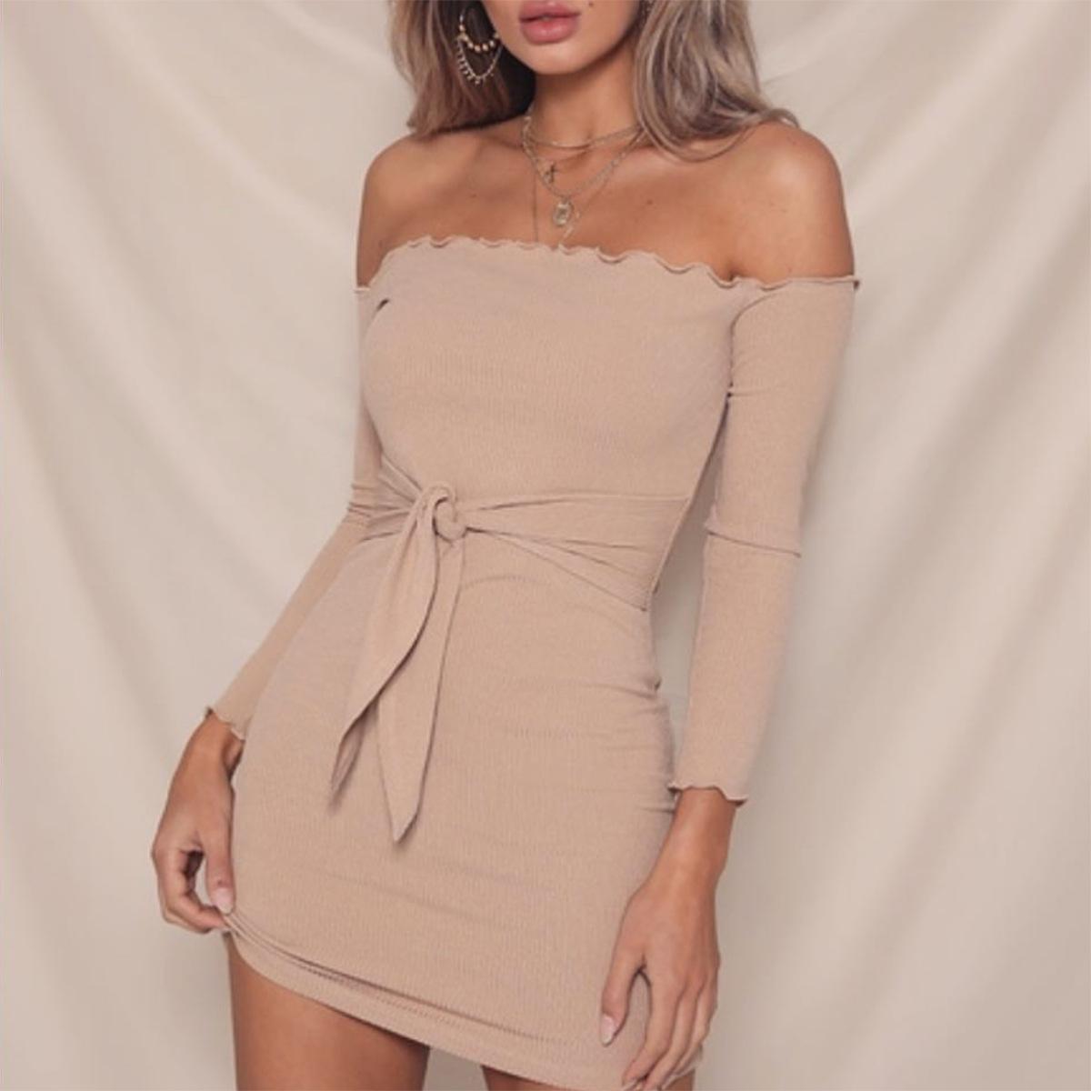 b80939fad0fd 2019 Slim Mini Autumn Women Winter Pencil Dress Long Sleeve Sexy Off ...