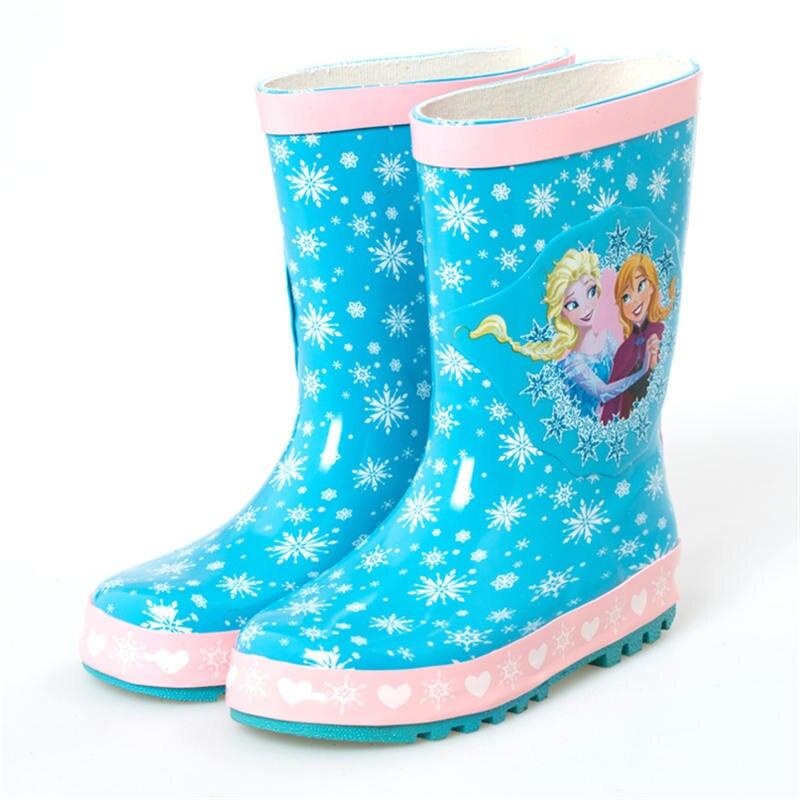 2019 nouveau Disney congelé Annie Elsa princesse flocon de neige filles anti-dérapant bottes de pluie enfants mignon dessin animé chaussures d'eau taille 23-36