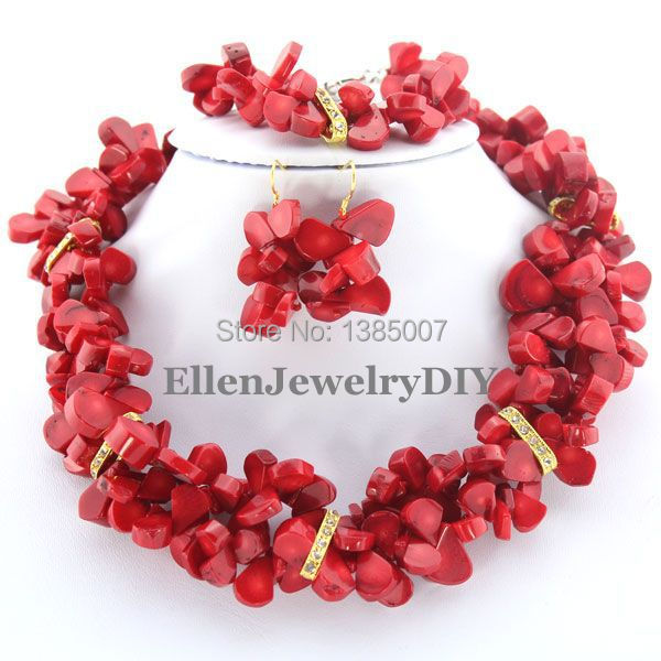 Beautiful Red Coral Jewelry Set African Beads Coral Necklace Wedding Gift Bridesmaid Necklace Nigerian Jewelry SetsBeautiful Red Coral Jewelry Set African Beads Coral Necklace Wedding Gift Bridesmaid Necklace Nigerian Jewelry Sets