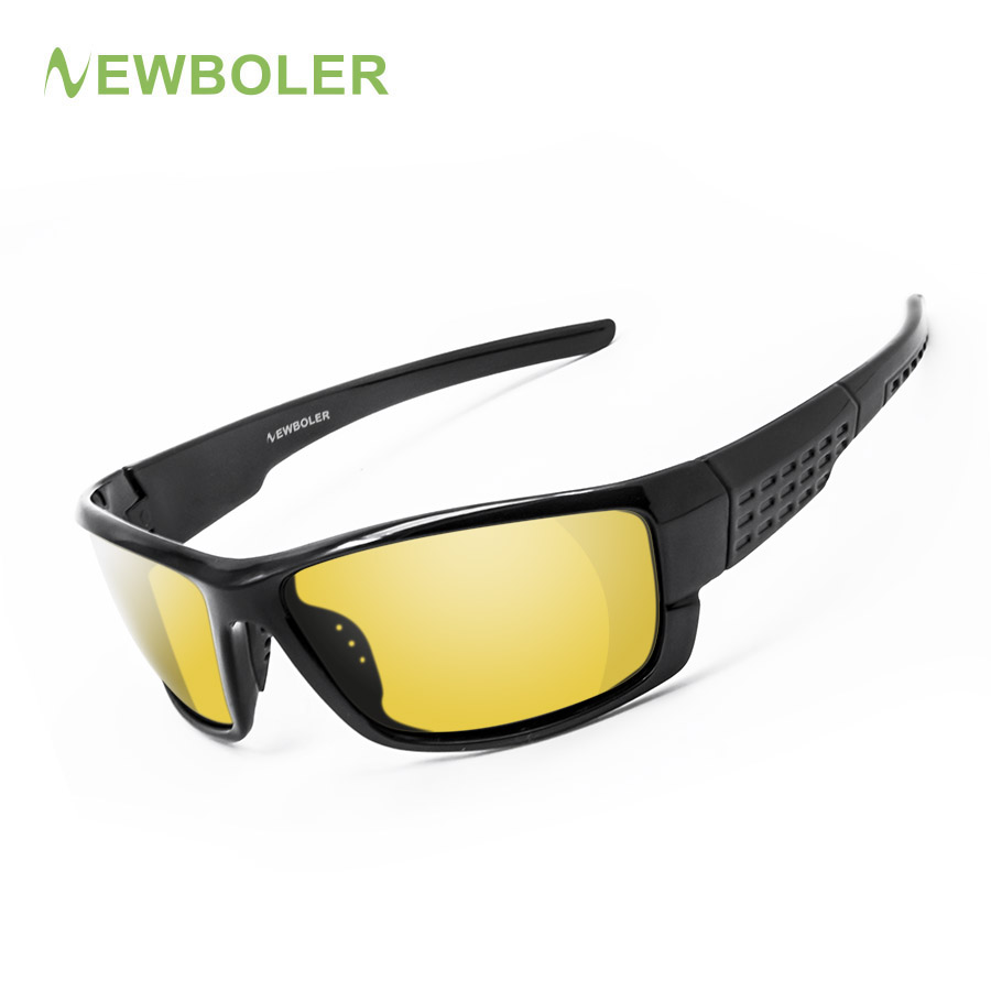 NEWBOLER Polarized Fishing Sunglasses Yellow Brown Lenses Night Version Men Glasses Outdoor Sport Driving Cycling Eyewear UV400 veithdia brand fashion unisex sun glasses polarized coating mirror driving sunglasses oculos male eyewear for men women 3360