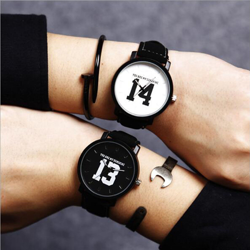 Superior New Fashion Hot Selling Number 13 and14 Quartz Watches Lovers Leather Strap Vintage Wristwatch