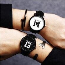 Supérieure Nouvelle Mode Vente Chaude Nombre 13 and14 Quartz Montres Lovers Bracelet En Cuir Vintage Montre-Bracelet