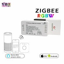 DC12-24V ZIGBEE RGBW Led Controller ZLL smart phone APP Amazon alexa voice control for 5050 3528 colorful RGBW LED Strip Light