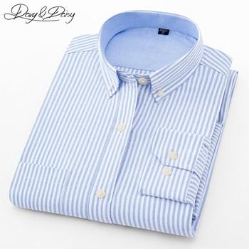 a40e71745 Daisy 100% alta calidad 2018 algodón hombres Camisas manga larga Casual  sólido rayas Oxford vestido camisa Formal hombres 5XL DS-245
