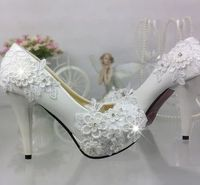 PLUS SIZE wedding shoes white for woman lace flowers handmade bridal shoes TG303 round toe low med high heel brides shoes