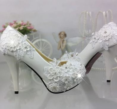 PLUS SIZE wedding shoes white for woman lace flowers handmade bridal shoes TG303 round toe low med high heel brides shoes цена 2017