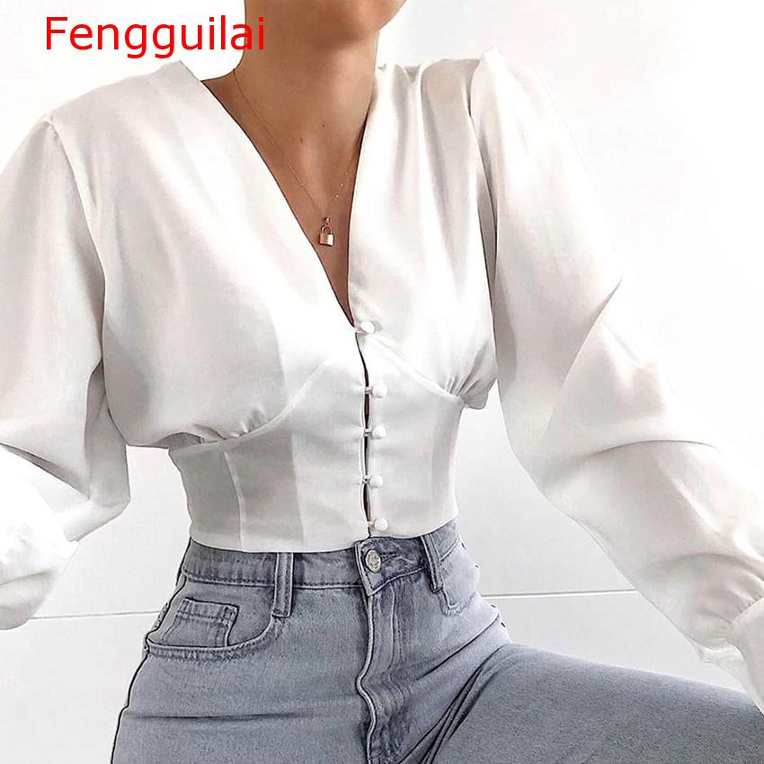 Fengguilai V-Neck White Crop Top Ladies Office   Shirt   2019 Womens Tops And   Blouses   Long Sleeve Tunic Button Autumn   Shirt     Blouse   W