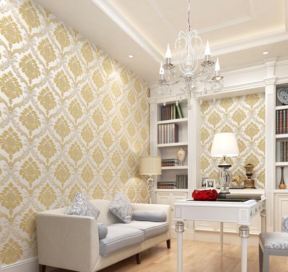 D Solid Plain Non Woven Wallpaper Warm Purple Beige Golden Living - Golden living room