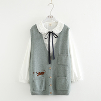 kitty embroidery Multi pocket Single breasted Vest Sweaters 2018 autumn winter mori girl