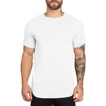 Brand gyms clothing fitness t shirt men fashion extend hip hop summer short sleeve t-shirt cotton bodybuilding muscle tshirt man 4