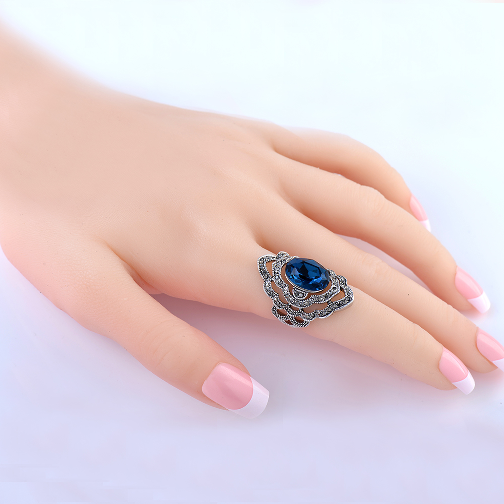 Fashion Wedding Ring Unique Carved Antique Silver big glass Flower Lucky Rings for Women Beach European Jewelry Party Ring