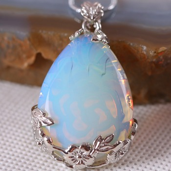 Free Shipping Fashion Jewelry 27x36MM Water Drop Bead Natural Stone Bead Light Blue Opa Pendant 1Pcs with Chain 18inches K322 image