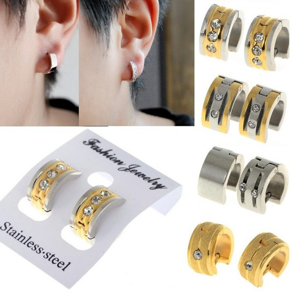 New Punk Stainless Steel Men Women Uni Ear Circle Hoop Huggie Earrings Jewelry Gold Silver Color Je01012 Je01016 In From