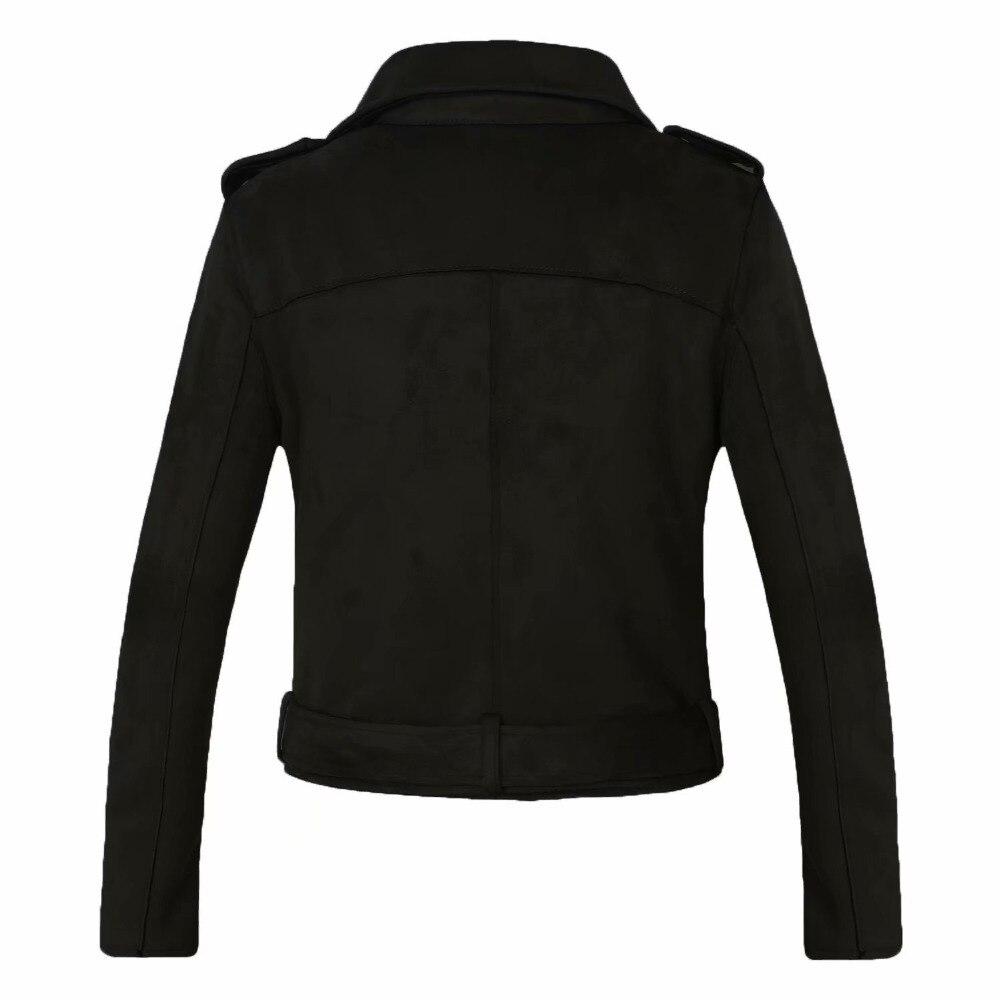 2018 Nouveau Arrial Femmes Automne Hiver Faux Suède En Cuir Vestes Lady Mode Mat Moto Manteau Biker Gris Rose Beige Outwear - 2