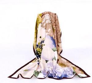 Image 5 - 100% シルクフラワースカーフソフトブランドスカーフパシュミナ高品質
