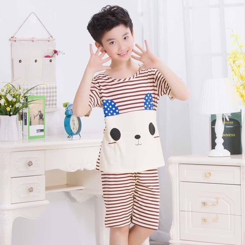 RN-9 мода детская одежда в лето 2018 пижама в полоску стильная футболка с изображением персонажей видеоигр для мальчиков и девочек с короткими ...