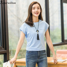 Summer T-Shirt Casual Cotton Top Tee Ladies Solid Short Sleeve For Woman Letter T8