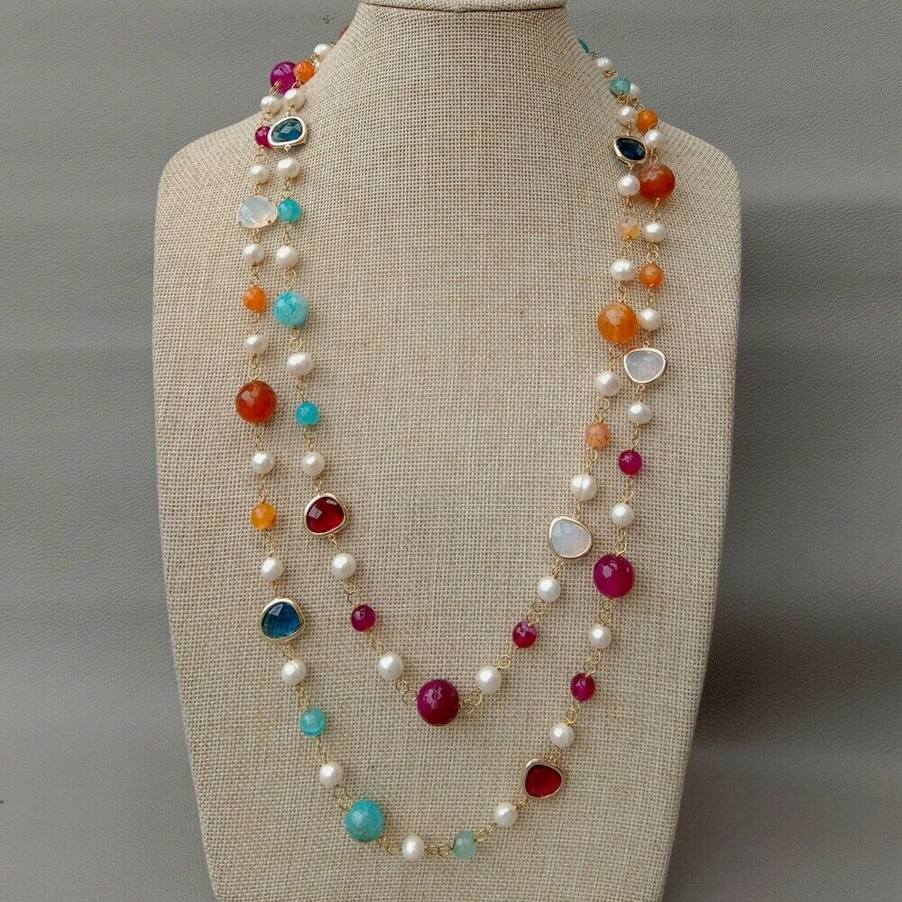 56 Cultured White Pearl Multi Color Stone Crystal Long Necklace56 Cultured White Pearl Multi Color Stone Crystal Long Necklace