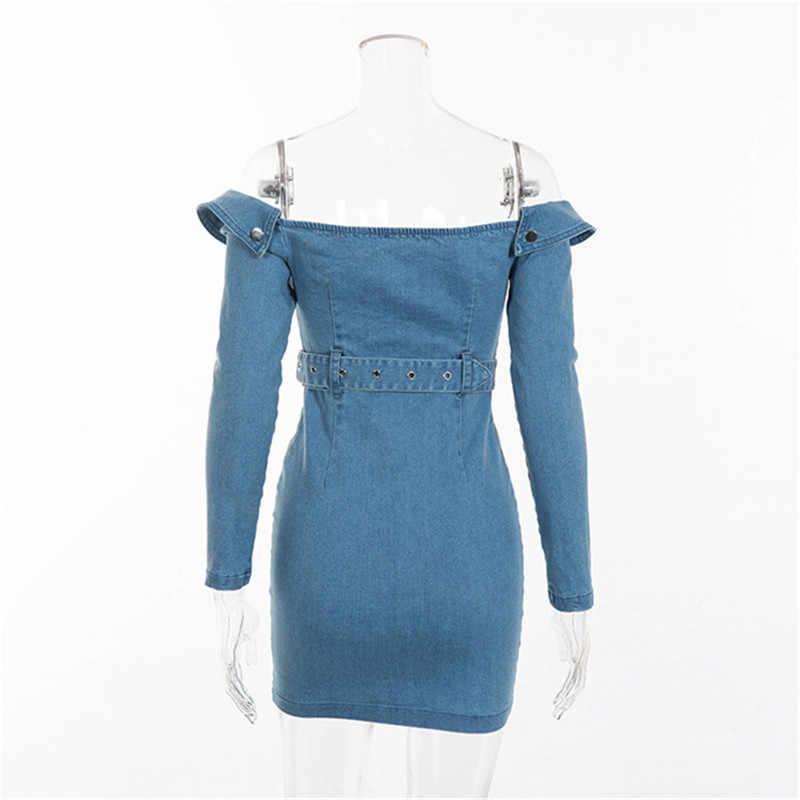 Элегантные модные Bodycon поясом джинсовые платья для женщин с длинным рукавом открытыми плечами джинсы для мини платье Женский 2018