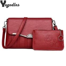 Women Bags Set 2 Pcs Leather Shoulder Bag Casual Messenger Bags Ladies Printed Designer Purse Solid Color Crossbody Bag Handbags