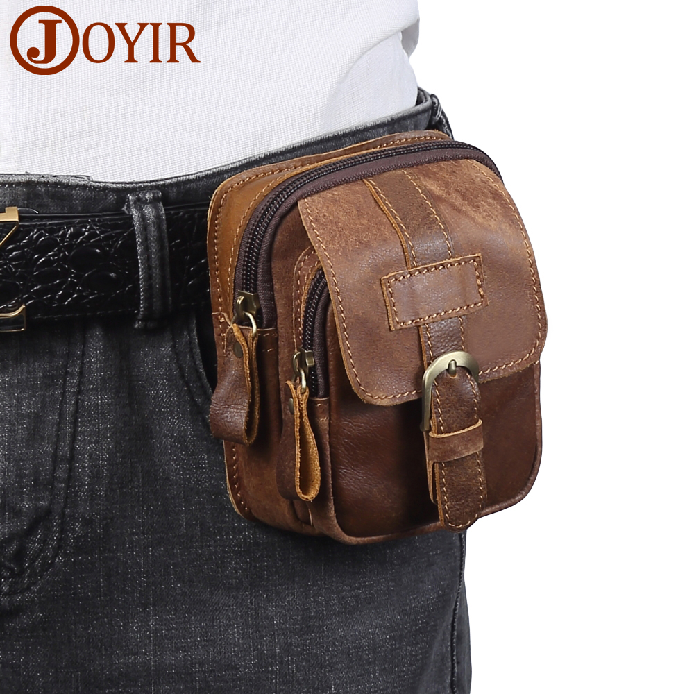 JOYIR Genuine Leather Men Waist Packs Vinatge Waist Bag Men Money Belt Bag Waist Pouch Bum Bag Fanny Pack for Man Male 6371 funny facebook pop dad bod money belt soft adjust bag men flesh color creative fanny pack beer fat belly bum pouch waist bag
