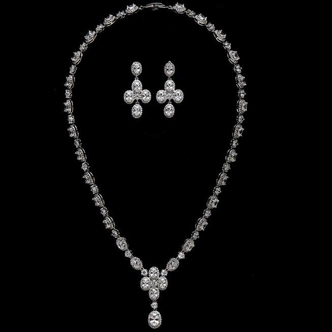 Elliptique CZ Bijoux De Mariée Ensembles collier boucles d'oreilles
