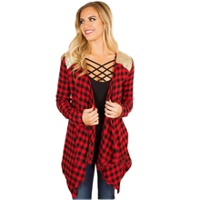 YJSFG HOUSE Red Plaid Irregular Cardigan font b Women b font font b Jacket b font
