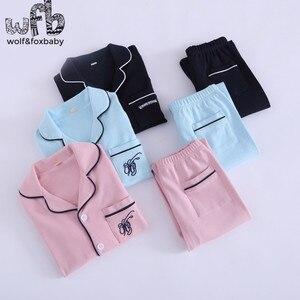 Image 2 - Lẻ 4 14 năm dài tay áo bông trẻ em của home mang nightdress chàng trai cô gái pajama lập mùa thu mùa thu phong cách cổ điển