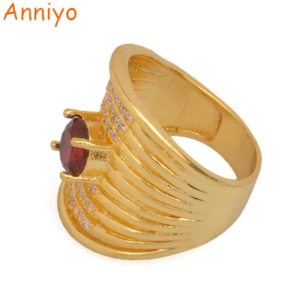 Anniyo 赤石リング女性ゴールドカラーファッションアラブリングキュービックジルコニアジュエリーアフリカエチオピアウェディングギフト #073606