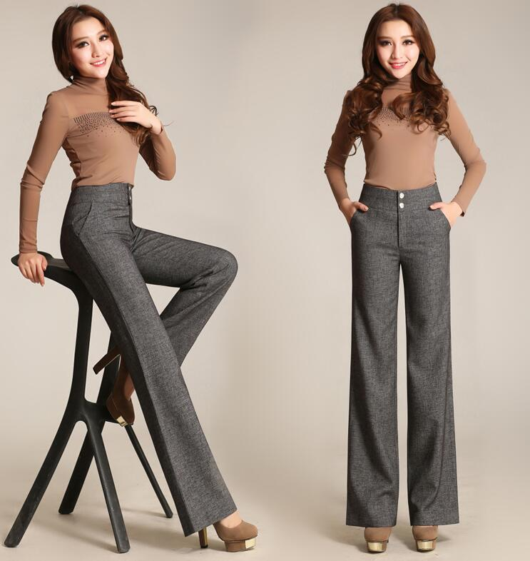High Quality Trousers Women 2019 Autumn Winter Casual OL Formal   Wide     Leg     Pants   Women Elegant Office Straight Work Wear   Pant   AE7