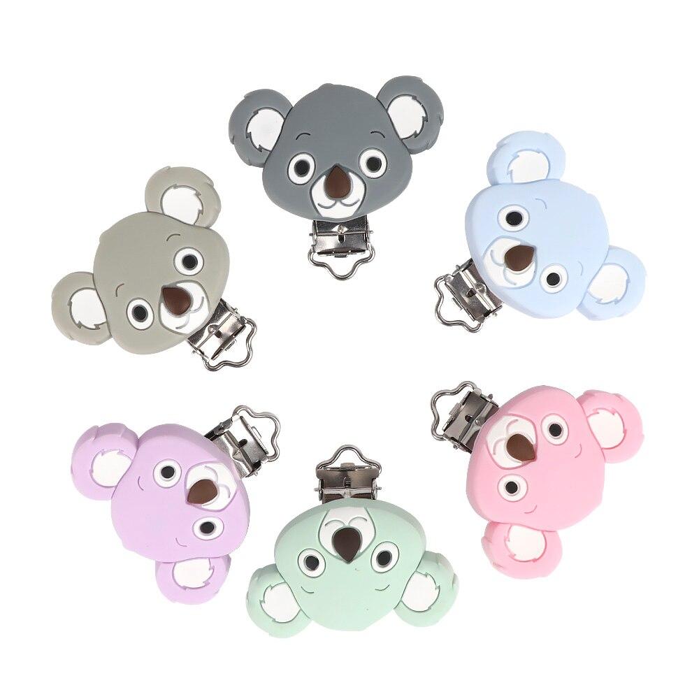 TYRY.HU 10pc Koala Pacifier Clips Silicone Teether Carton Cute Mini For Handmde Koala Baby Dummy Clips