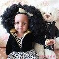 Moda boneca de brinquedo meninas boneca de pele de 18 polegada preto africano americano boneca com cabelo preto encaracolado