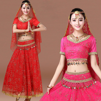 2016 Dancewear Women Sexy Belly Dance Costume Set 4pcs 7pcs Top Belt Skirt Headpiece Jewelry Bollywood