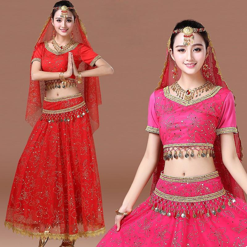 2018 Sari Vêtements Femmes/Enfants Du Ventre Costume De Danse Mis Indien Costumes De Danse Bollywood Robe (Haut + ceinture + jupe + voile + casque)