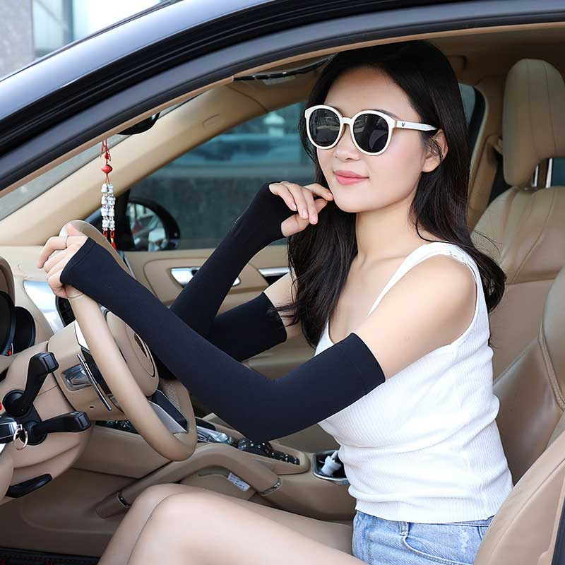 Summer Ice Silk Sunscreen Hand Guards Arm Guards UV Protection Gloves Solid Color Suitable For Cycling Play Golf Protection