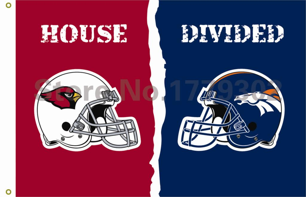 Arizona Cardinals Denver Broncos helmets House Divided Flag3ft x 5ft